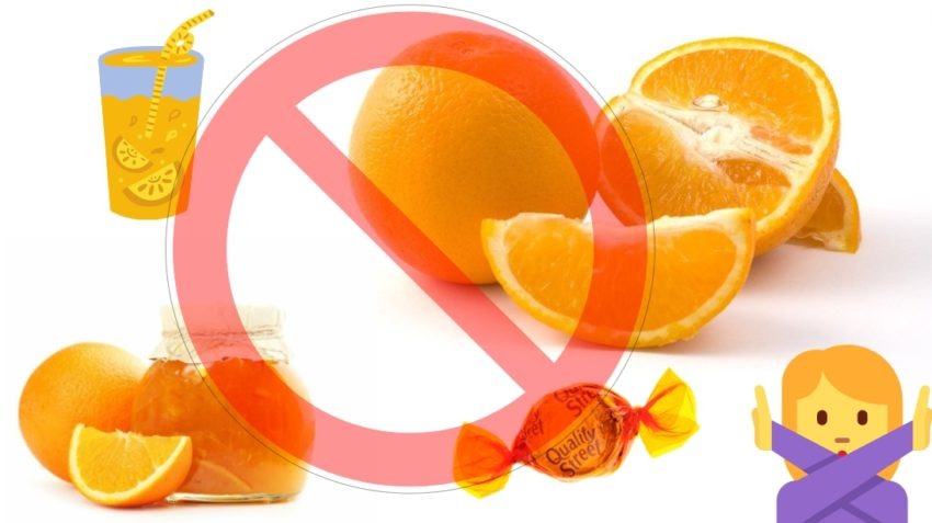 Запрещено к употреблению при аллергии на апельсин