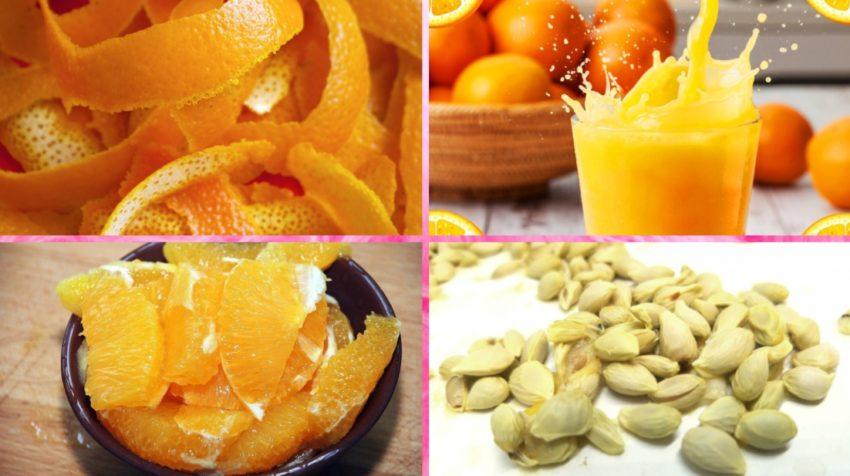 Цедра, сок, мякоть и семечки апельсина